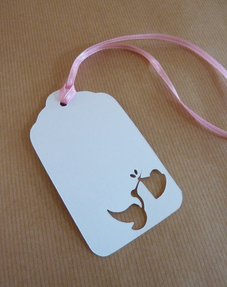 Baby Shower/gift tags with cut out stork and baby detail