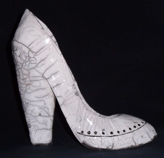 White Spectator Shoe  scultped raku ceramic shoe by AShoeForSarah