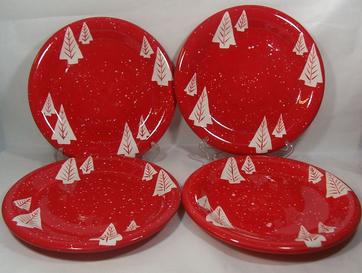 Lot/4 Red Xmas Dinner Plates White Pine Trees Snow Flurries Certified Int'l  #CertifiedIntl