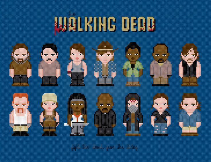 The Walking Dead - Season 5 and 6 - PixelPower - Amazing Cross-Stitch Patterns http://www.pixelpowerdesign.com/shop/tv/product/show/444-the-walking-dead-season-5-and-6