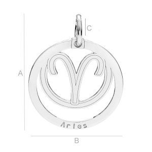SILVER  ZODIAC PENDANT LK-0107 (0,50 MM) SIZE: A=23,00 mm; B=18,50 mm; C=3,90 mm, sterling silver (AG-925)  Available options: AG 925 (18K- Rose Gold Plated) AG 925 (24K- Gold Plated) AG925 ( BRH- Black Rhodium Plated) AG 925 (RH- Rhodium Plated)