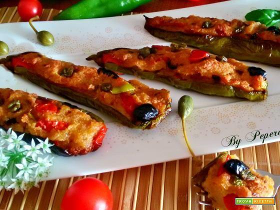 Barchette di peperoni verdi ripieni al forno  #ricette #food #recipes