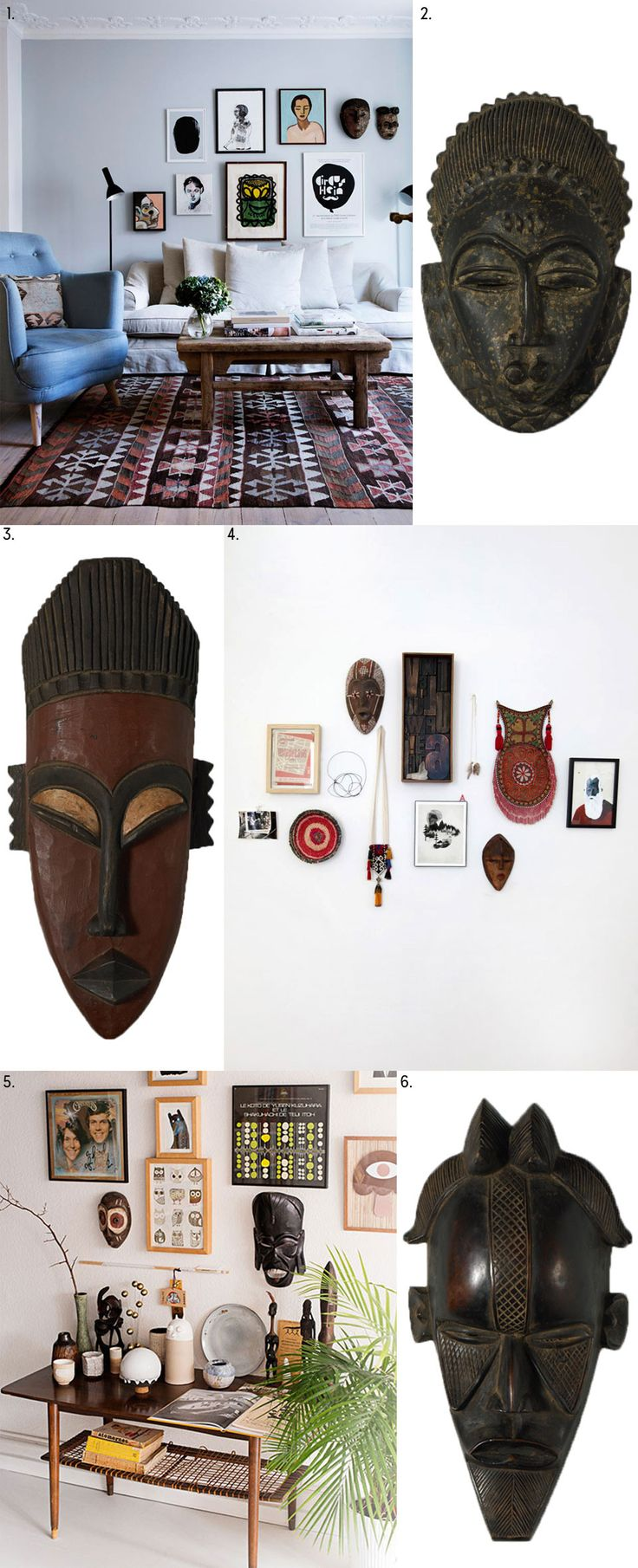 Invitation to the Masquerade Add to an eclectic gallery wall with these African Masks  Live