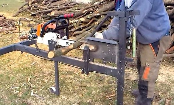Chainsaw Mill by Joan Olaria -- Homemade chainsaw mill constructed from tubing, a spring, steel cable, bar stock, and a chainsaw. http://www.homemadetools.net/homemade-chainsaw-mill-9