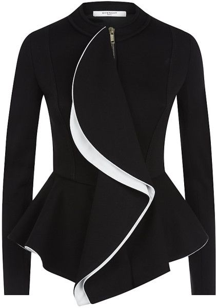 Givenchy Two Tone Ruffle Jacket in Black | Lyst