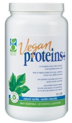 GENUINE HEALTH - Vegan Proteins+  Nutrient-rich combination of Vegan protein sources, antioxidants, essential fatty acids plus vitamins & minerals. Add a scoop in your shake today!