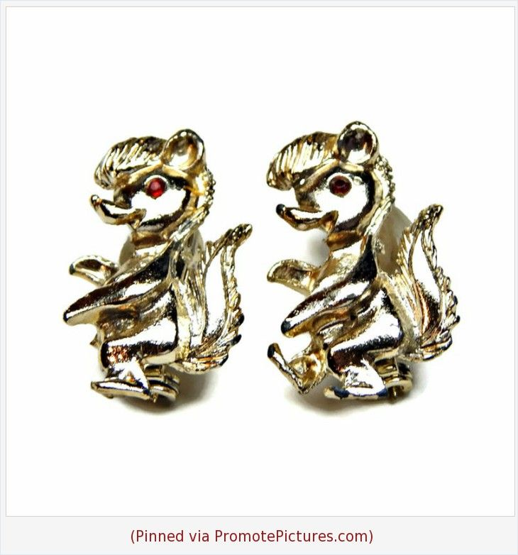 Pair Of Skunk Scatter Pins Gold Tone With Red Rhinestone Accent Red Rhinestone Vintage Jewelry Vintage Brooches
