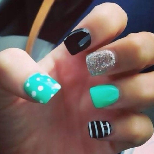 so cute! mint, dots, and stripes! love nails!