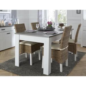 196802c8aec5e7 MARQUIS Table à manger 8 à 10 personnes style contemporain décor pin et  décor chêne - L 230 x l 90 cm