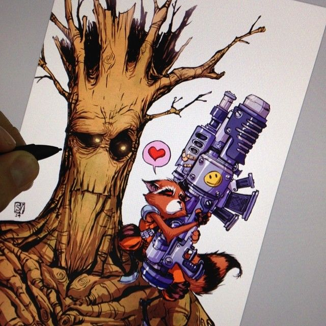 skottieyoung: Working on a cover. #rocketraccoon