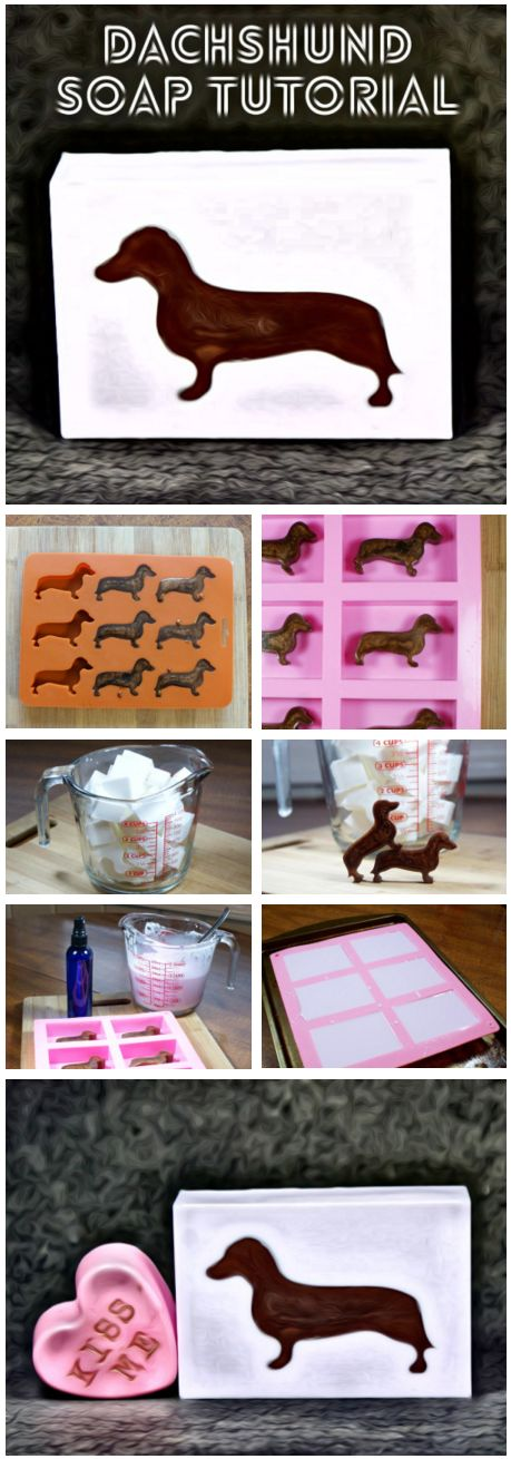 This darling dachshund melt and pour soap recipe is perfect for dachshund lovers who must have everything dachshund! You know who you are. (wink.) Pair them with a DIY conversation heart soap for the perfect DIY Valentine's day gift!