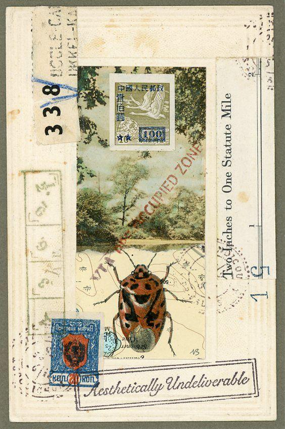 Preoccupied Bug. Original Mail Art by Nick Bantock.