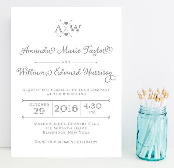 Gray Grey Wedding Invitation Silver Wedding by Whimsicalprints