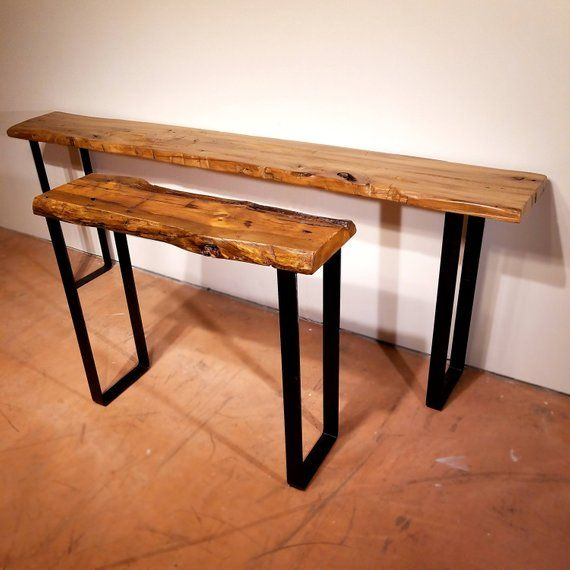Sofa Table With Modern Steel Legs Reclaimed Wood Console Etsy Long Sofa Table Wood Sofa Table Modern Console Tables
