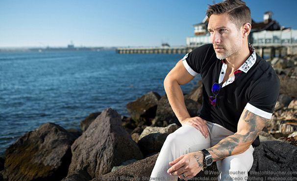 Pictured Model: Weston Bouchér | IG/Twitter @ westonboucher | westonboucher.com | Photos by: Shipwreck Dai : shipwreckdai.com | Client: Maceoo Clothing Maceoo.com | san diego, model, male model, men's fashion, style, male modeling, model portfolio, designer men's clothing, men's designer dress shirts, blazers, polos, seaport village