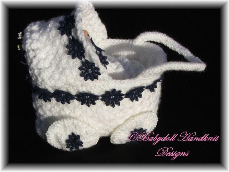Tiny decorative pram for 3-4 inch dolls/new baby gift-pram, blanket pillow