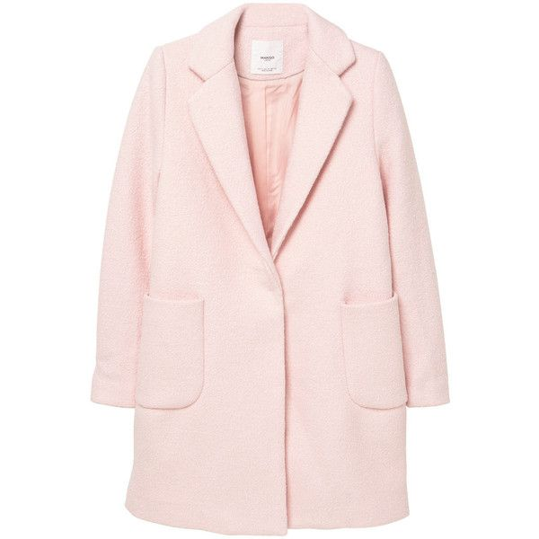 Pockets Wool Coat (2 685 UAH) ❤ liked on Polyvore featuring outerwear, coats, pink coat, fur-lined coats, lapel coat, mango coat and woolen coat
