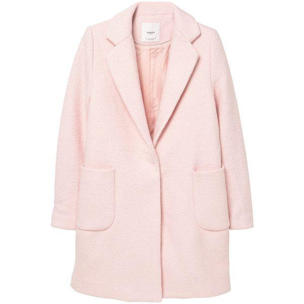 Pockets Wool Coat (2 685 UAH) ❤ liked on Polyvore featuring outerwear, coats, pink coat, fur-lined coats, lapel coat, mango coat and woolen coat