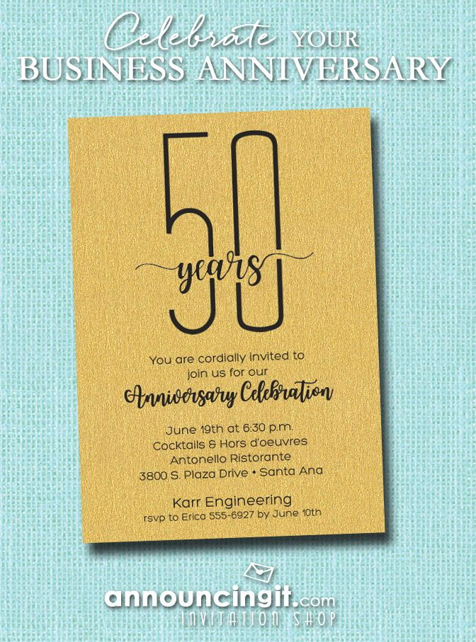 slender shimmery gold business anniversary party invitations in 2018