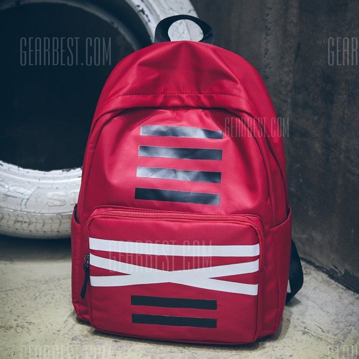 [ $18.97 ] Men Stylish Printed Nylon Backpack  -  RED