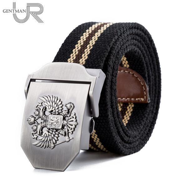 FuzWeb:Unisex Russian National Emblem Canvas Tactical Belt High Quality Military Belts For Mens & Women Luxury Patriot Jeans Belt