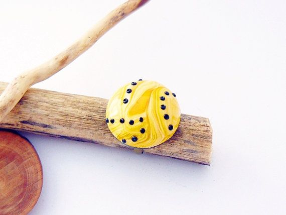 Yellow and black ring  polymer clay jewelry by spikycake on Etsy, $15.00