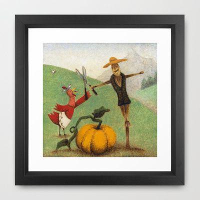Autumn Little Red Hen Framed Art Print by Alexandria Gold - $35.00