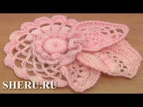 How to Crochet Floral Scrumble Урок 4 часть 2 из 2 Цветочный мотив в технике фриформ - YouTube