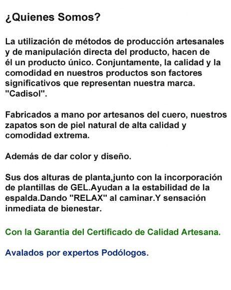 """La utilización de métodos de producción artesanales y de manipulación directa del producto, hacen de él un producto único. Conjuntamente, la calidad y la comodidad en nuestros productos son factores significativos que representan nuestra marca.""""Cadisol""""."""
