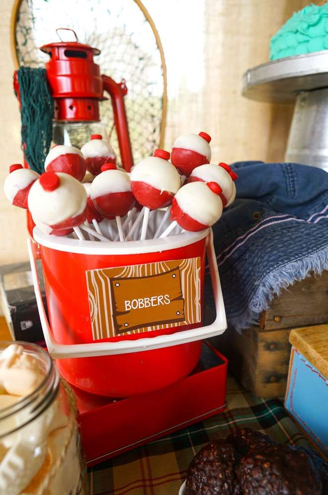Bobber cake pops at a fishing birthday party! See more party planning ideas at CatchMyParty.com!