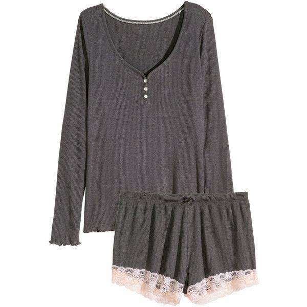 H&M Pyjamas (€17) ❤ liked on Polyvore featuring intimates, sleepwear, pajamas, pijama, h&m, ropa, dark grey, long sleeve sleepwear, long sleeve pyjamas and button pajamas
