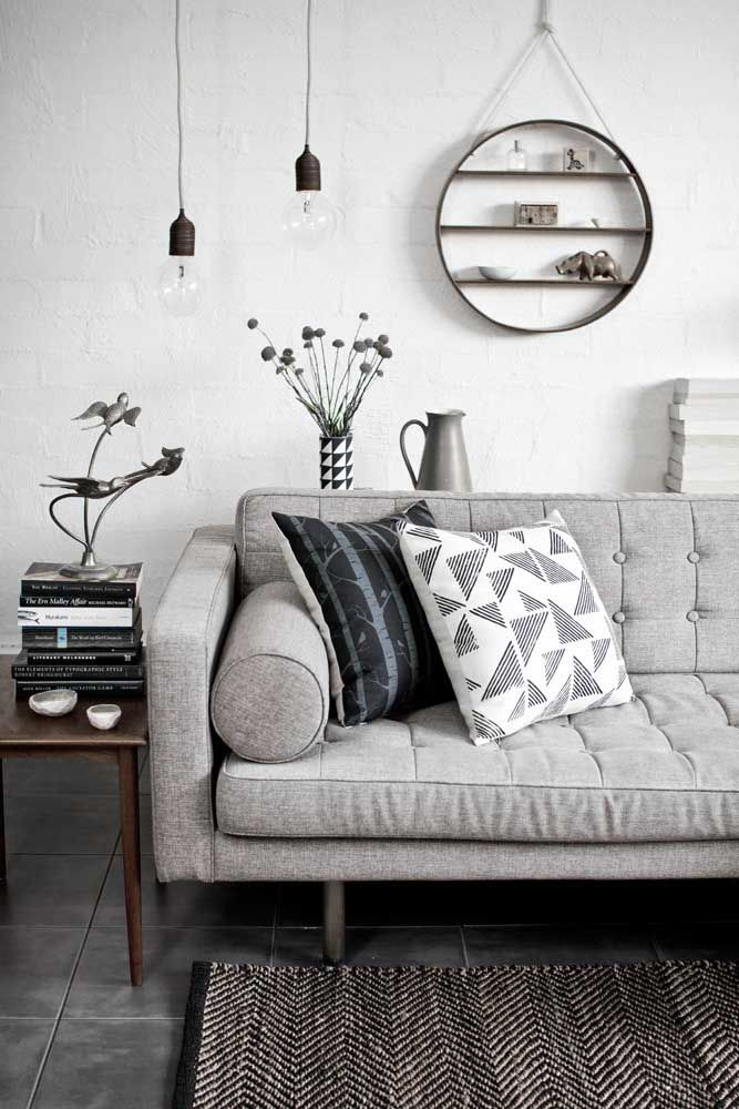 Dove Gray Home Decor ♅ Mid Century Style Tufted Grey Sofa