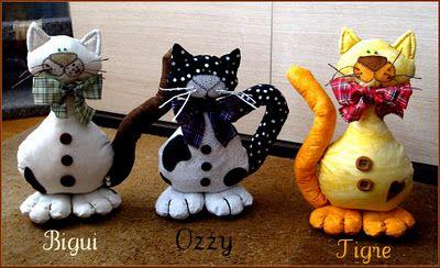 Falta un gato...: Gatos de tela, tela de gatos!