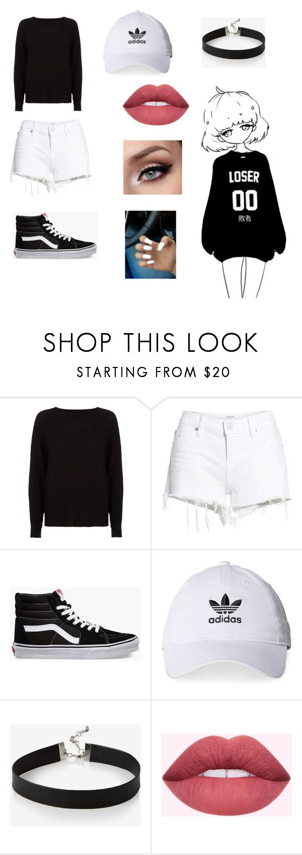 """Cute Black and White Kawaii ❤❤"" by laurinehyuga ❤ liked on Polyvore featuring River Island, Hudson Jeans, Vans, adidas and Express"
