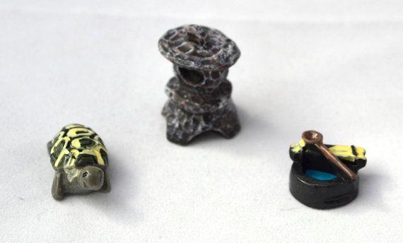 Resin Stone Tortoise Well Water Miniature by AZRibbonsAndSupplies