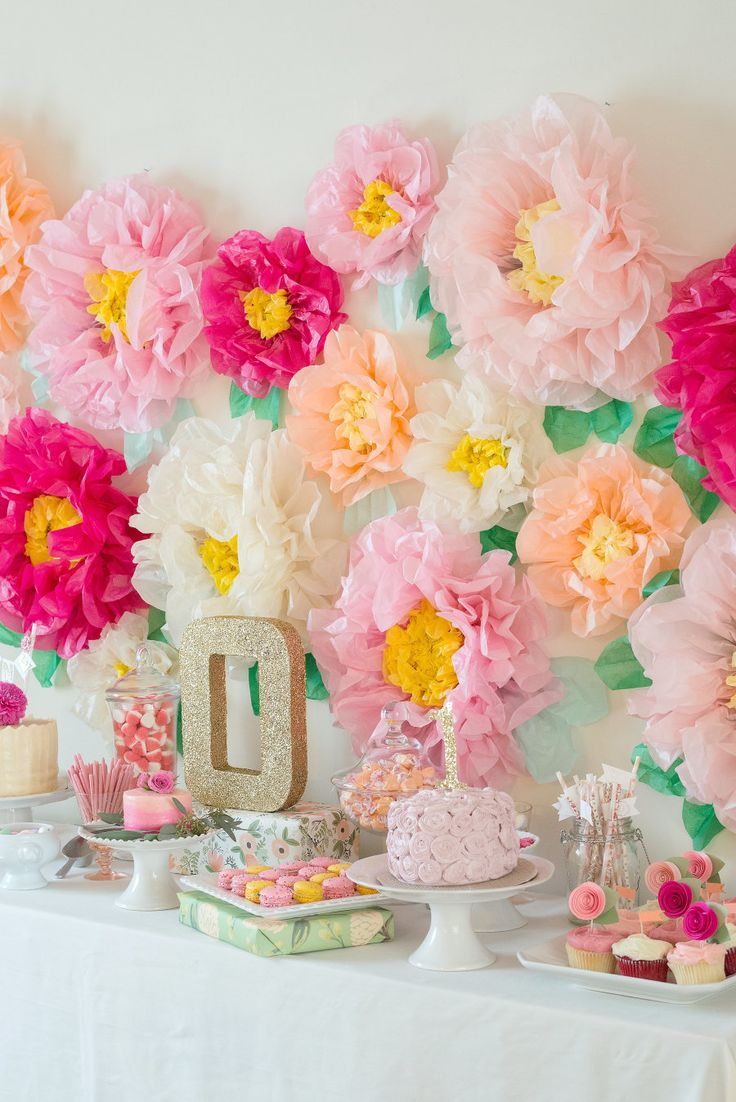 garden party first birthday with the ultimate flower backdrop - Spring Party Decorating Ideas
