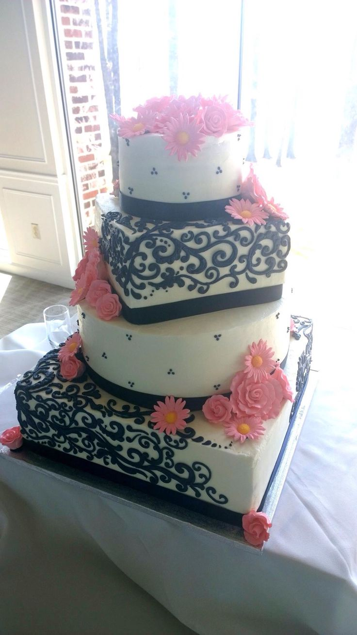 Coral and navy wedding cake - The Cake Place, Russellville, AR