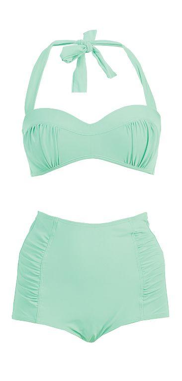 Mint high waisted bikini