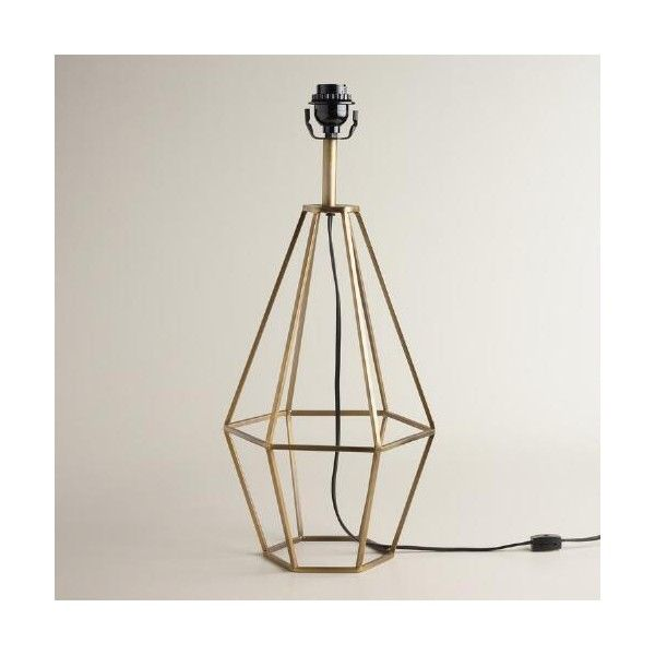Cost Plus World Market Brass Diamond Table Lamp Base ($60) ❤ liked on Polyvore featuring home, lighting, table lamps, geometric lamp, mid century modern lighting, mid century modern lamps, midcentury lamp and midcentury lighting