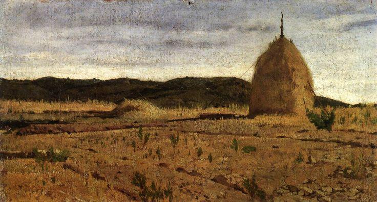 """Giovanni Fattori """"The Haystack"""" (1872 ca.) Oil on canvas, Museo civico Giovanni Fattori, Livorno"""