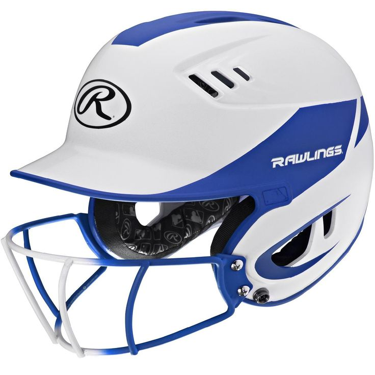 Rawlings Velo Junior 2-Tone Home Softball Helmet w-Mask-Blue