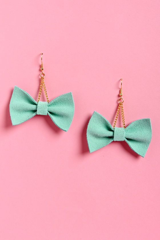 Claire Fong Mint Bow Earrings - Yes please!