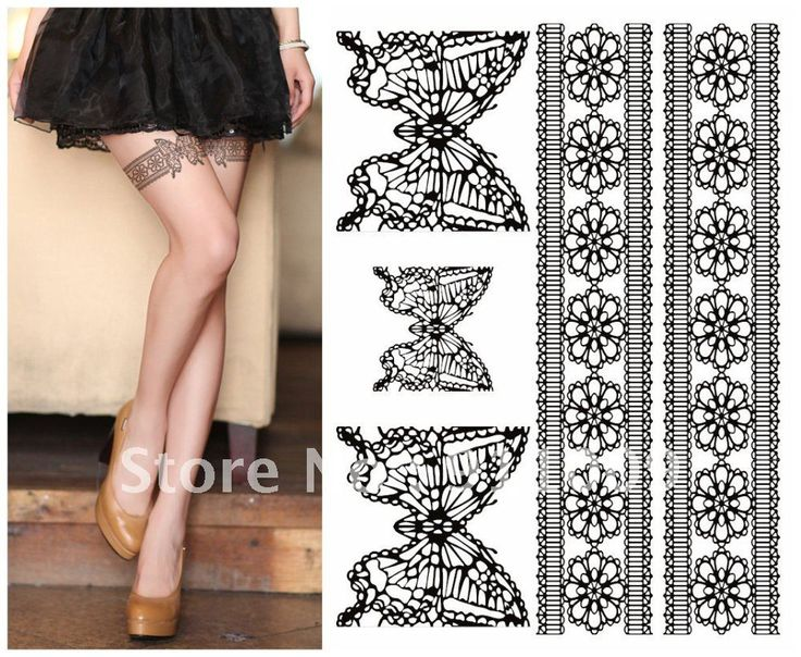 TA108 Leg Body Lace Tattoo Stickers /Safe Temporary Tattoo ...