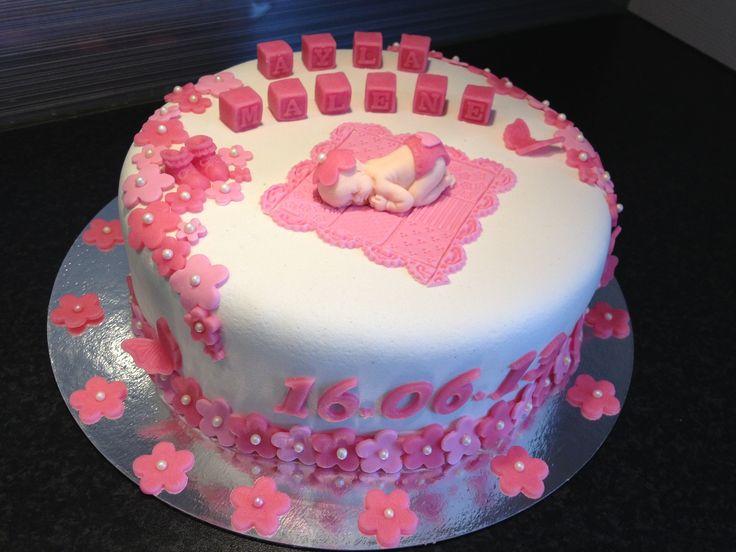 Dåpskake til Ayla Malene  Christening cake for girl