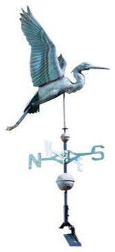 Verdigris Copper Heron Weathervane traditional-weather-vanes