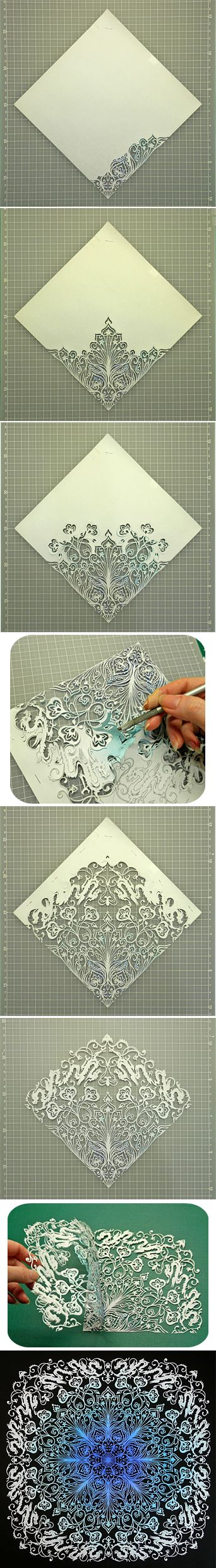 [] Japanese Kirigami Art (Cut Paper) tutorial (pictures only) by Syandery. (Link does not go to tutorial/images)