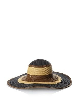 40% OFF Ivanka Trump Women's Block Stripe Floppy Hat, Black/Brown/Natural