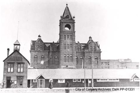 1910 Town Hall and City Hall, before clock was installed in tower - Alberta On Record