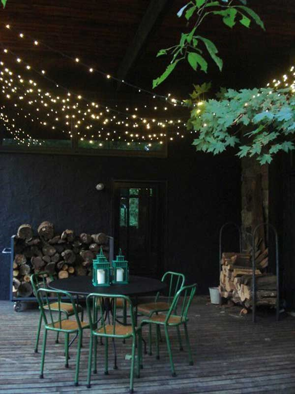 Add A Twinkle Ceiling To Your Porch With String Lights Summer