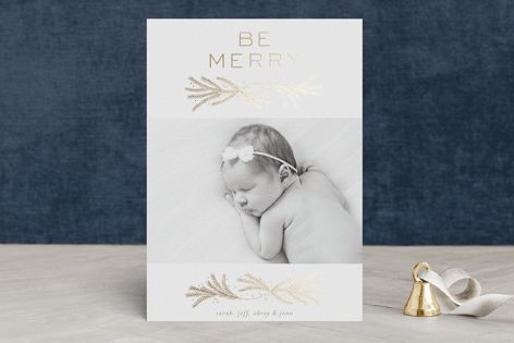 """""""be merry pines"""" - Elegant, Floral & Botanical Foil-pressed Holiday Cards #merry #happyholidays #foil #gold #rosegold #merrychristmas #photocards #minted #holidayscards #cards #christmas #holiday #happynewyear #cheers #love #merrybright #religious #bright #joy #clean #simple #modern #elegant #glitterin White by Phrosne Ras."""